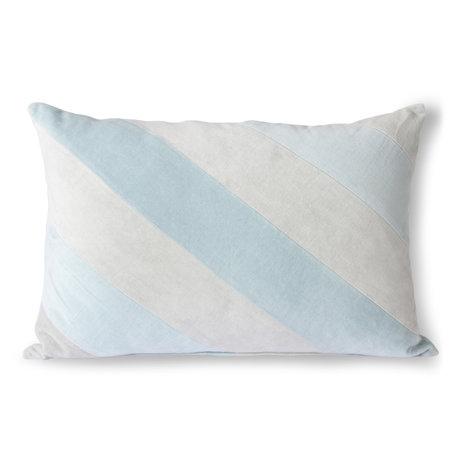 HK-living Coussin décoratif Striped Velvet textile bleu glace 40x60cm
