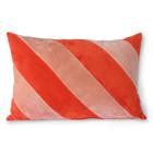 HK-living Dekoratives Kissen Gestreiftes Samtrotrosa Textil 40x60cm