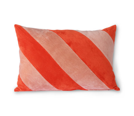 HK-living Decorative pillow Striped Velvet red pink textile 40x60cm