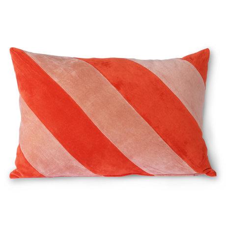 HK-living Coussin décoratif Striped Velvet textile rose rouge 40x60cm