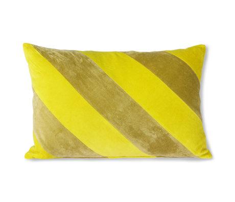 HK-living Coussin décoratif Striped Velvet textile vert jaune 40x60cm