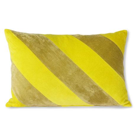 HK-living Decorative cushion Striped Velvet yellow green textile 40x60cm