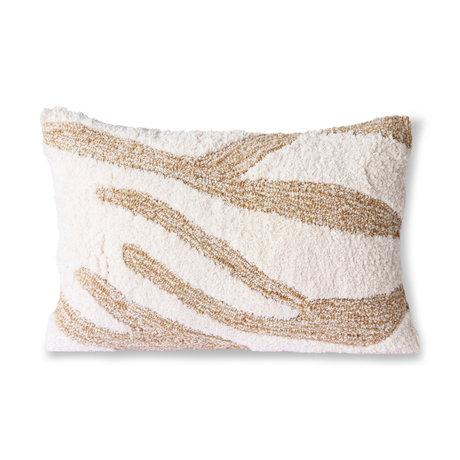 HK-living Coussin Fluffy textile beige blanc 35x55cm