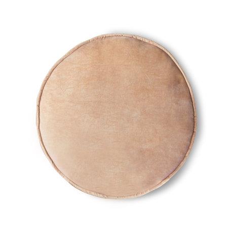 HK-living Cuscino seduta Velvet Round tessuto rosa chiaro Ø60cm
