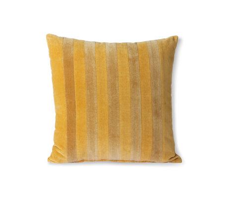 HK-living Cuscino decorativo Striped Velvet tessuto oro giallo ocra 45x45cm