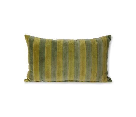 HK-living Throw pillow Striped Velvet green textile 30x50cm