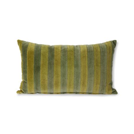 HK-living Kissen gestreiftes samtgrünes Textil 30x50cm