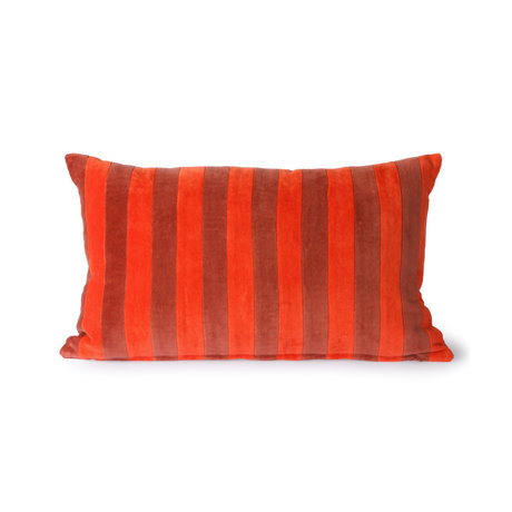 HK-living Cojín Rayas Terciopelo rojo textil 30x50cm