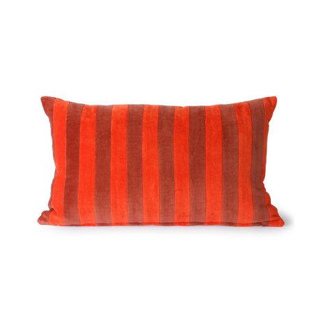 HK-living Coussin décoratif Velours rayé textile rouge 30x50cm