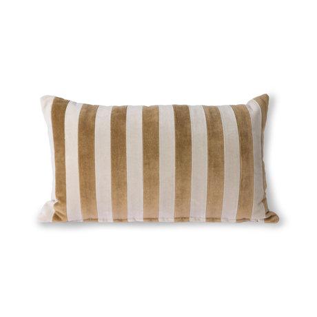 HK-living Throw pillow Striped Velvet brown textile 30x50cm