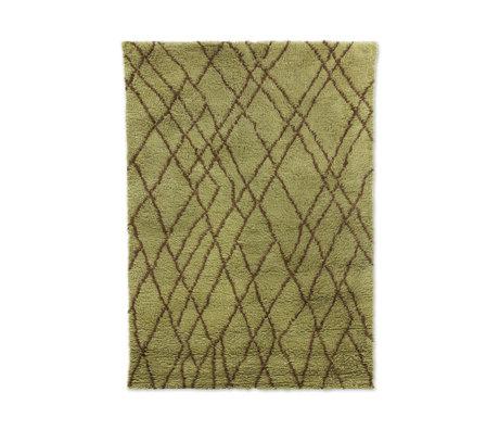HK-living Tappeto Zigzag verde oliva marrone lana 180x280cm