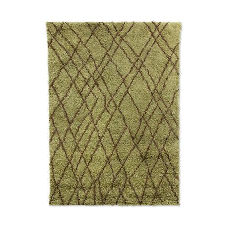 HK-living Teppich Zickzack olivgrünbraune Wolle 180x280cm