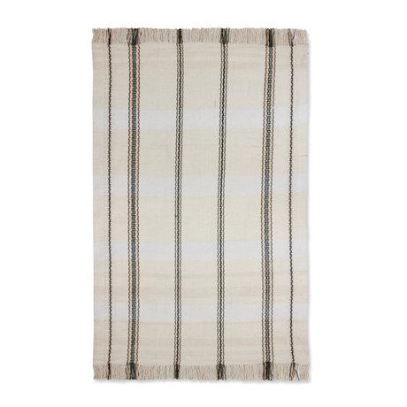 HK-living Tappeto a righe in tessuto bianco nero 150x240cm