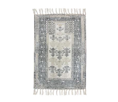 HK-living Tapis de bain Overtufté textile noir et blanc 60x90cm