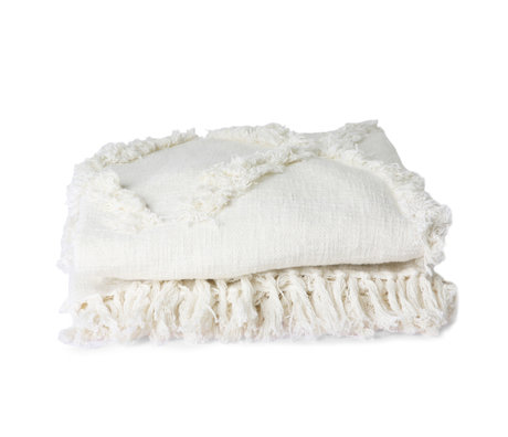 HK-living Colcha textil blanca flecos 270x270cm