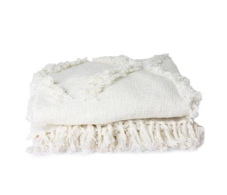 HK-living Copriletto sfrangiato tessuto bianco 270x270cm