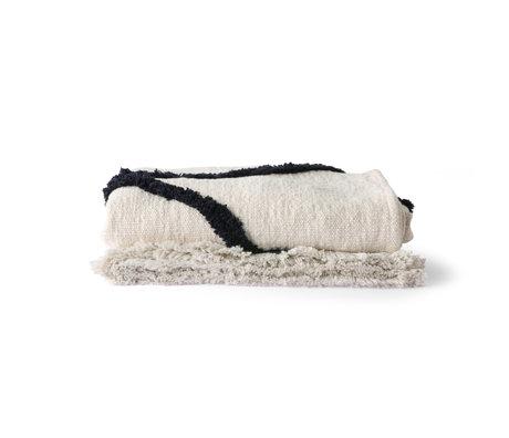 HK-living Copriletto Copriletto Tessuto trapuntato bianco e nero 130x170cm