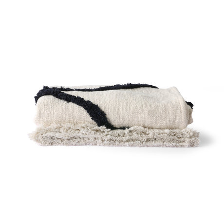 HK-living Bedspread Throw Tufted black and white textile 130x170cm