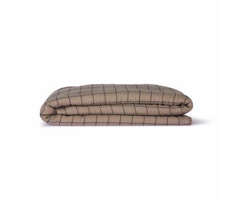 HK-living Couvre-lit à carreaux Sherpa Throw textile marron 130x170cm
