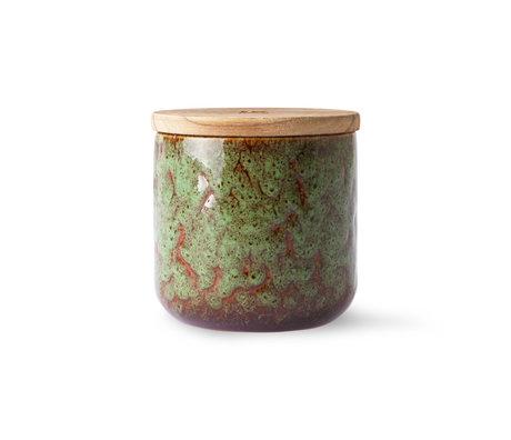 HK-living Bougie Boudoir Floral brun bois vert céramique Ø10.5x10cm