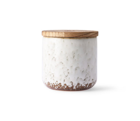 HK-living Bougie Boudoir Floral brun bois blanc céramique Ø10.5x10cm