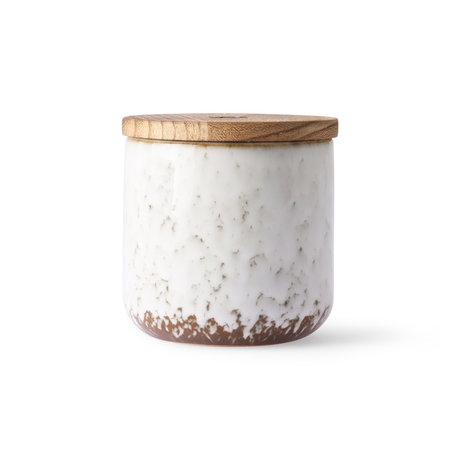 HK-living Candela Floreale Boudoir legno bianco marrone ceramica Ø10.5x10cm
