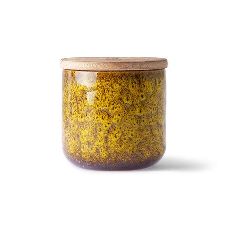 HK-living Vela Cócteles en cerámica madera marrón amarillo Manhattan Ø10.5x10cm