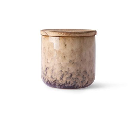 HK-living Stearinlys Casa Frugter lyserød trækeramik Ø10,5x10cm
