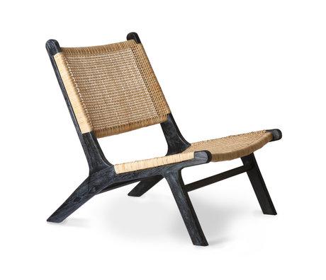 HK-living Loungesessel Gurtband braun schwarz Rattan Holz 64x75x79cm