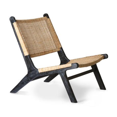 HK-living Chaise longue Webbing bois de rotin noir marron 64x75x79cm