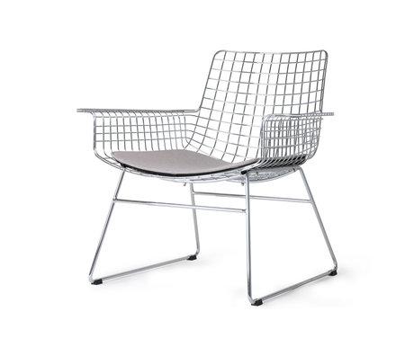 HK-living Chaise longue Wire argent chromé avec coussin d'assise 84x70x75cm
