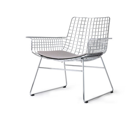 HK-living Lounge chair Wire silver chrome incl. Seat cushion 84x70x75cm
