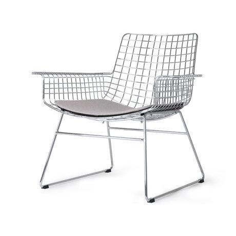HK-living Chaise longue Wire argento cromato con cuscino seduta 84x70x75cm