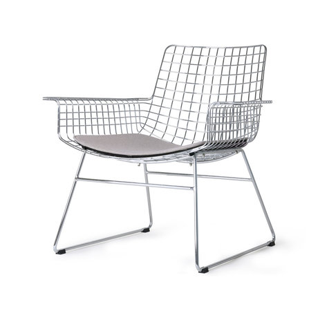 HK-living Lounge stol Wire sølv krom inkl. Sædehynde 84x70x75cm