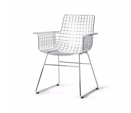 HK-living Chaise de salle à manger Wire argent chromé 72x56x86cm