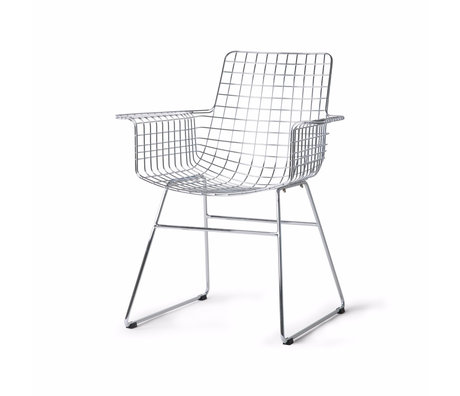 HK-living Dining chair Wire silver chrome 72x56x86cm