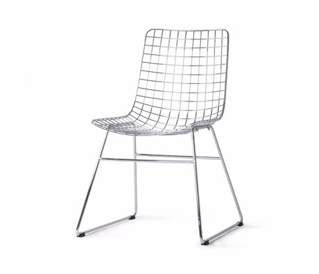 HK-living Chaise de salle à manger Wire argent chromé 47x54x86cm