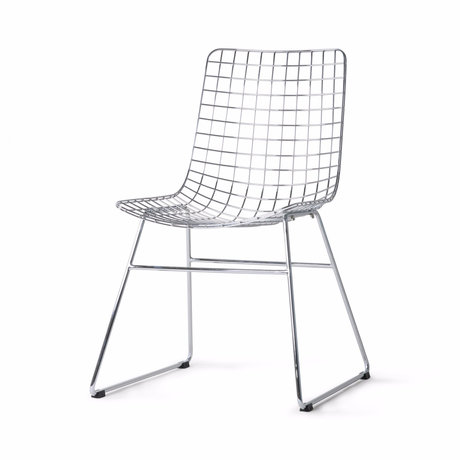 HK-living Dining chair Wire silver chrome 47x54x86cm