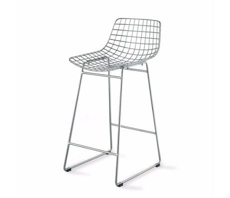 HK-living Chaise de bar Wire argent chromé 42x47x89cm