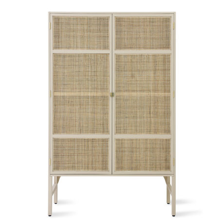 HK-living Armario Retro Cincha madera ratán beige 125x55x200cm