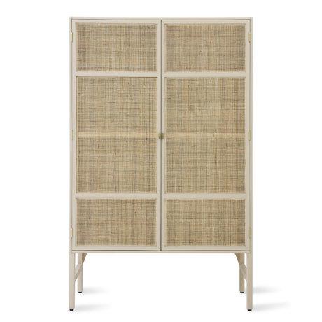 HK-living Armoire Rétro Sangle bois de rotin beige 125x55x200cm