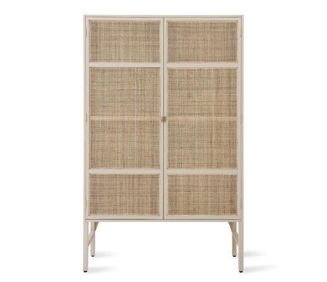 HK-living Armario Retro Cincha madera de ratán beige con estantes 125x40x200cm