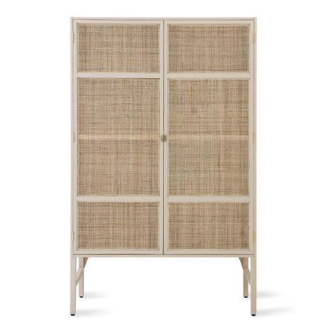 HK-living Armoire Retro Webbing bois de rotin beige avec étagères 125x40x200cm
