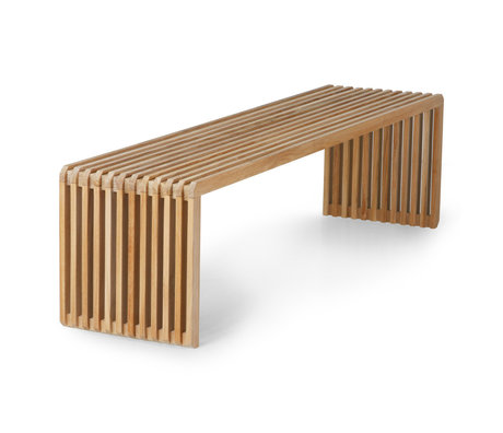 HK-living Banco de listones de madera marrón 160x43x45cm