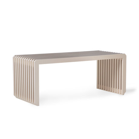 HK-living Banco de listones de madera beige 96x43x38cm