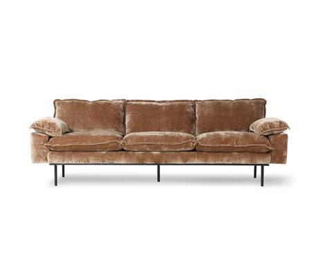 HK-living Canapé 4 places rétro velours velours côtelé textile marron rouille 245x94x83cm