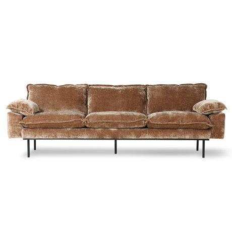 HK-living Sofa 4-pers. Retro fløjl Corduroy rustbrun tekstil 245x94x83cm