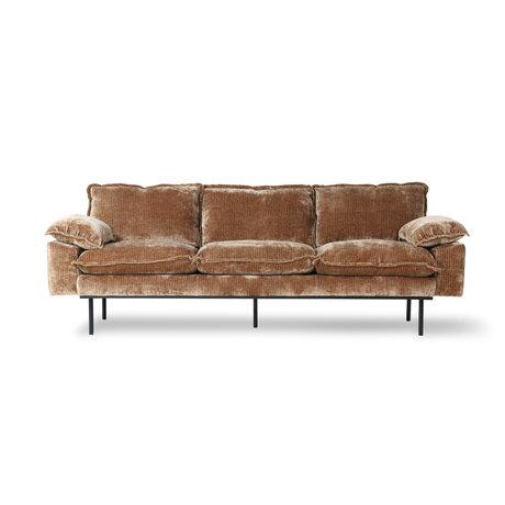 HK-living Sofa 3-Sitzer Retro Velvet Cord rostbraunes Textil 225x94x83cm