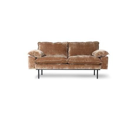 HK-living Sofa 2-pers. Retro fløjl Corduroy rustbrun tekstil 175x94x83cm