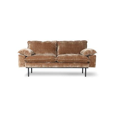 HK-living Canapé 2 places rétro velours velours côtelé textile marron rouille 175x94x83cm